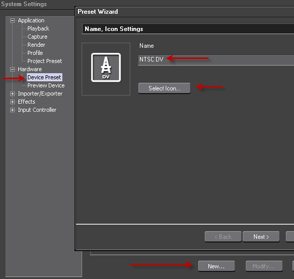 NTSC DV Device Preset Step1