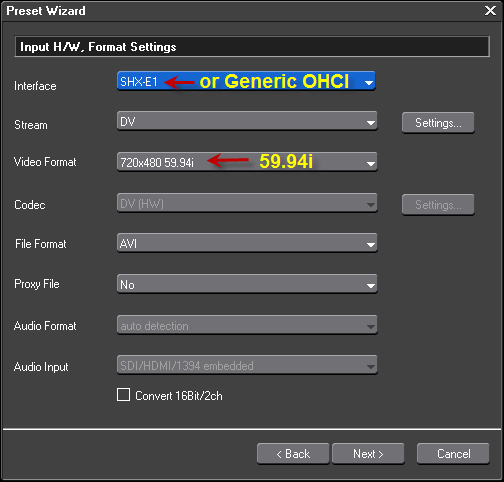 NTSC DV Device Preset Step2