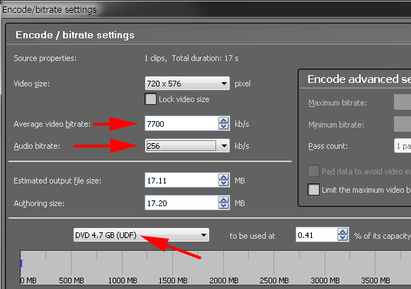 Video Mastering Works 5 - Bitrate Settings