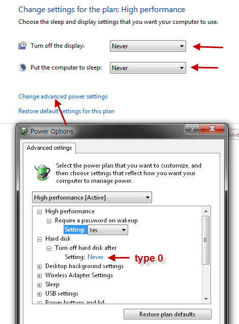 Win7 advanced power options
