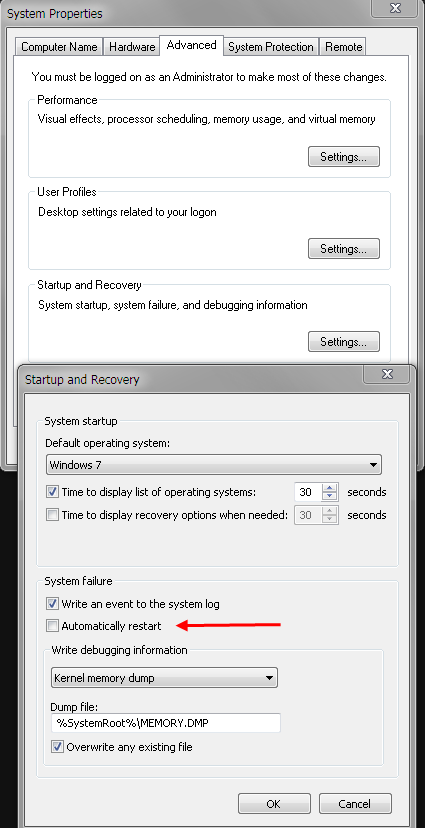 how to turn off automatic restart