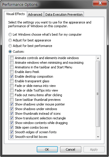 Win7 performance options