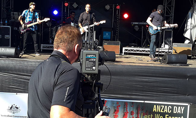Anton filming 1927 at Anzac Day Cronulla 2015