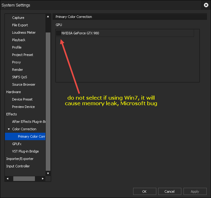 EDIUS9 User Settings - Primary Color Correction