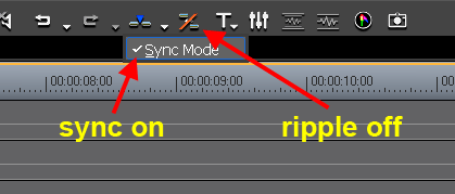 EDIUS 5 ripple-sync-mode switches