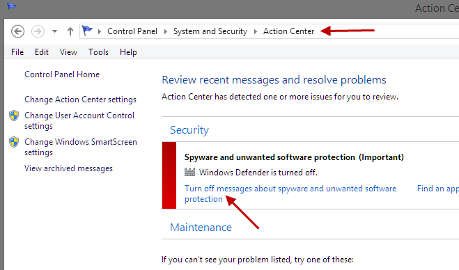 Disable warning messages in the action center of Win8