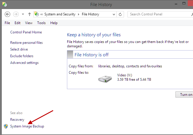 System Image Backup in Win8.1