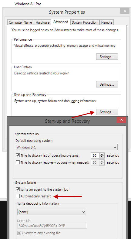 Disable automatic restart in Win8