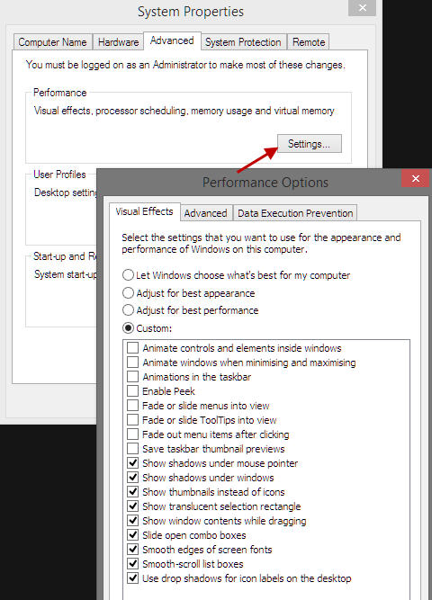 Disable non essential visual effects in Win8