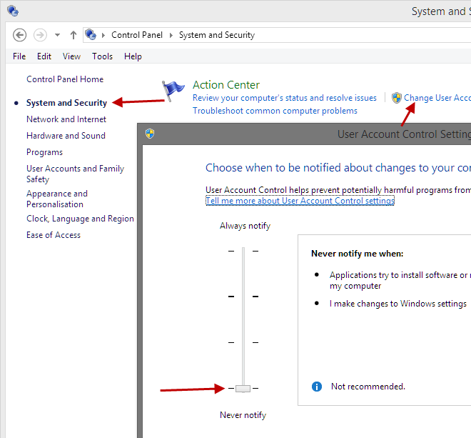 Disable User Account Control in Win8