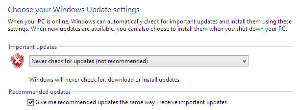 Windows Update Settings in Win8