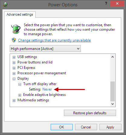 Change high performance plan settings