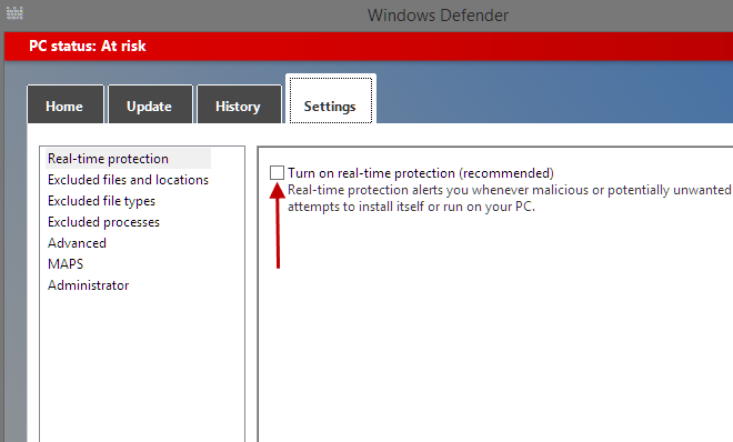 Disable Windows Defender in Win8