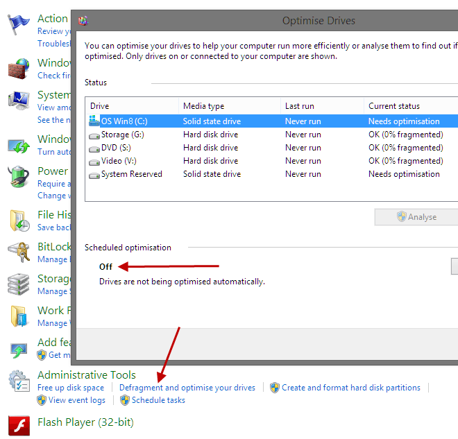 Disable Defrag Drives in Win8